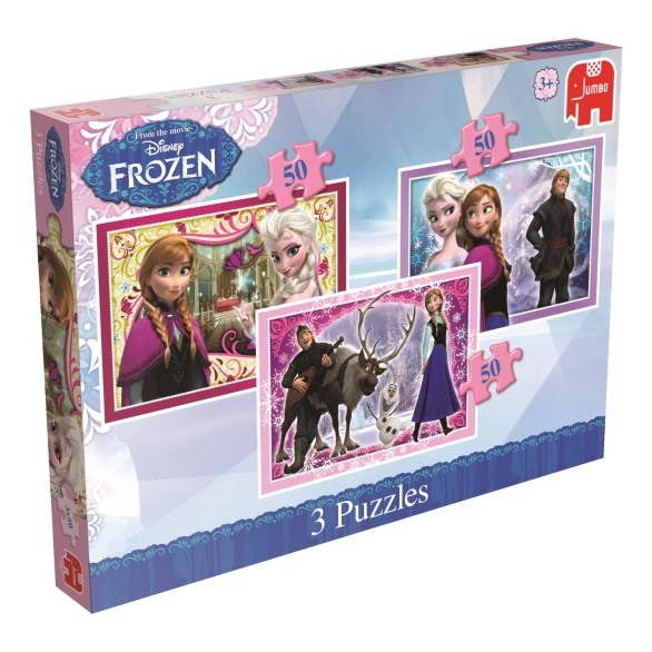 Disney Frozen Puslespill – Tre Motiver – 50 Biter