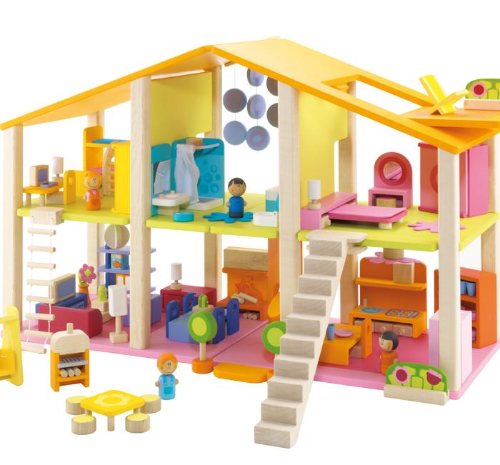 Dukkehus Med Møbler – 78 Deler